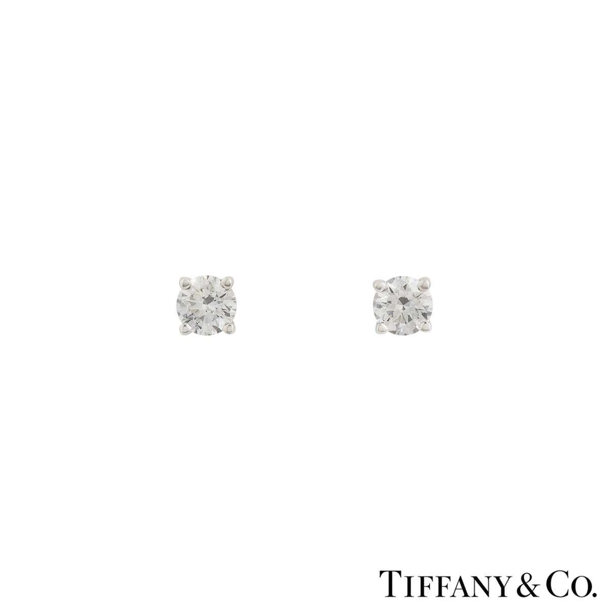 Tiffany Co Solitaire Diamond Platinum Stud Earrings 1 24ct Tdw